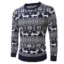 Winter Knitted Sweater Men Pullover Snowflake Print New Year Tops Red Black Jumper Christmas Deer Sweaters Men's Casual Knitwear