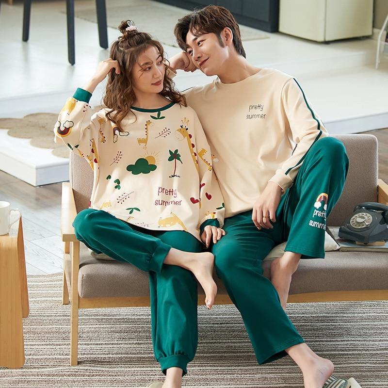 Пижама Foply для влюбленных, пижама из 100% хлопка, комплекты с длинным рукавом, Мультяшные парные пижамы для женщин, комплекты одежды для сна, зи...
