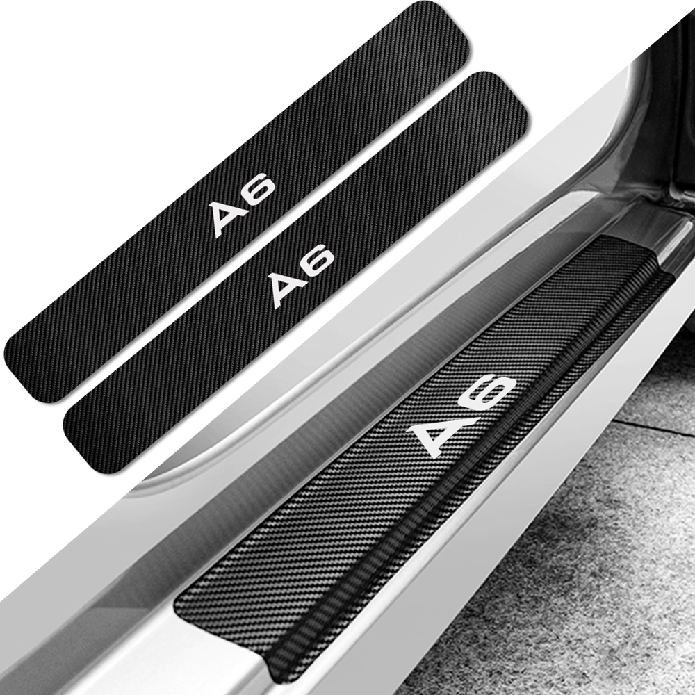 4 шт. наклейки на пороги автомобиля для Audi A6 C5 C6 C7 4F Защита от царапин Накладка авто Углеродные наклейки аксессуары для тюнинга автомобиля
