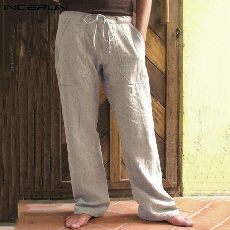 INCERUN Vintage Men Casual Pants Baggy Cotton Drawstring Solid Color Pockets Joggers Sweatpants Workout Trousers Men Streetwear