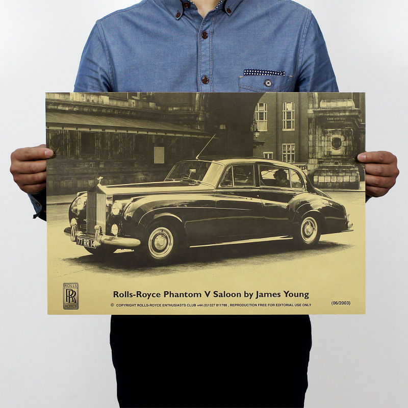 Rolls-Royce Famous Antique Car Vintage Kraft Paper Poster Map Home Wall Garage Decoration Wall Decals Art DIY Retro Decor Prints