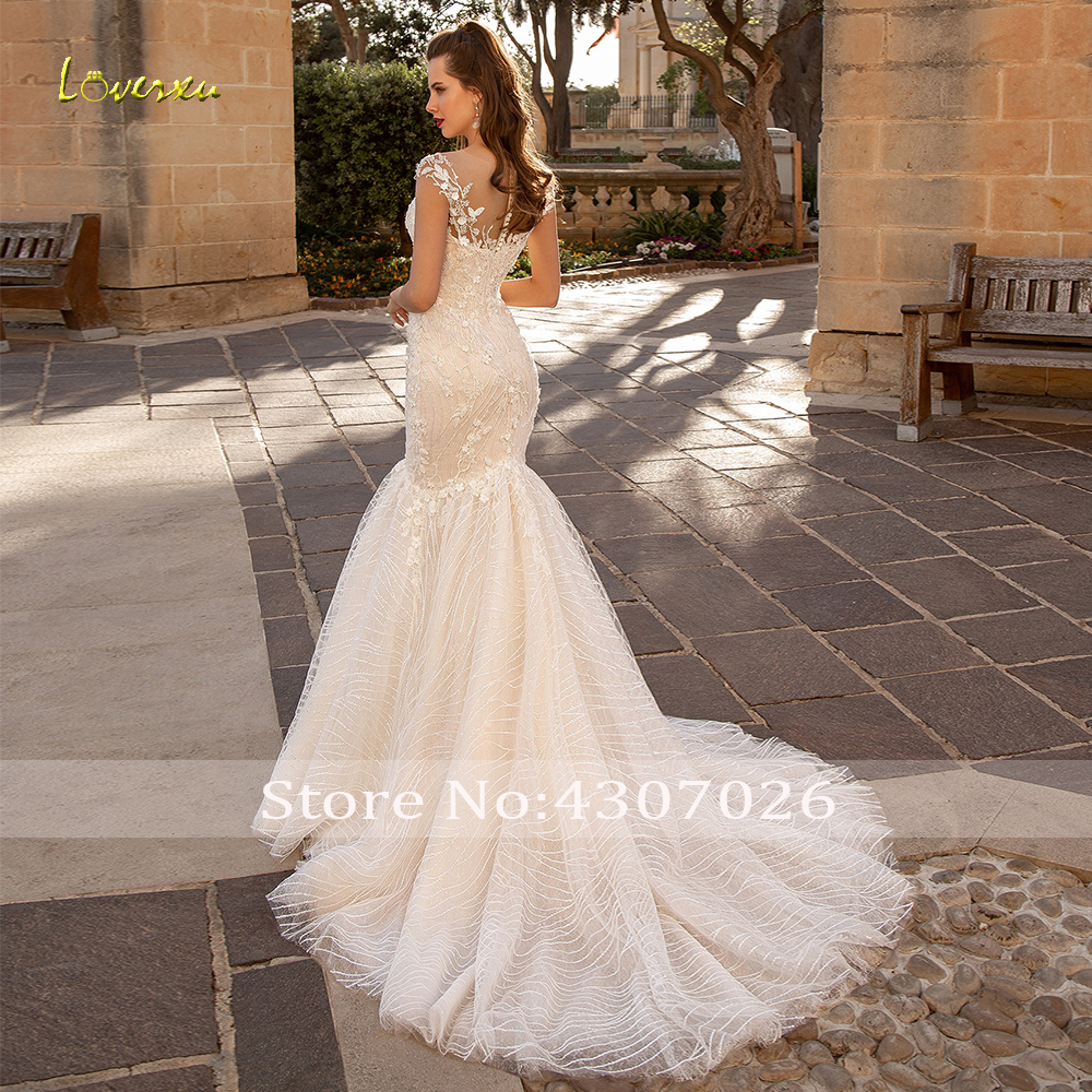 Image 2 - Loverxu Scoop Sequined Mermaid Wedding Dresses Elegant Applique Beading Cap Sleeve Bride Dress Court Train Bridal Gown Plus Size-in Wedding Dresses from Weddings & Events