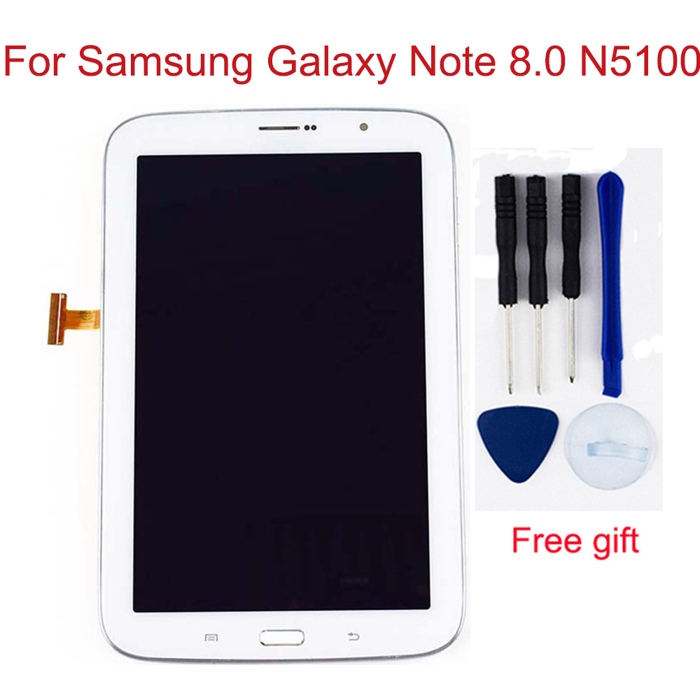 2 Color For Samsung Galaxy Note 8.0 N5100 GT-N5100 Touch Screen Digitizer Sensor + LCD Display Panel Monitor Assembly With Frame
