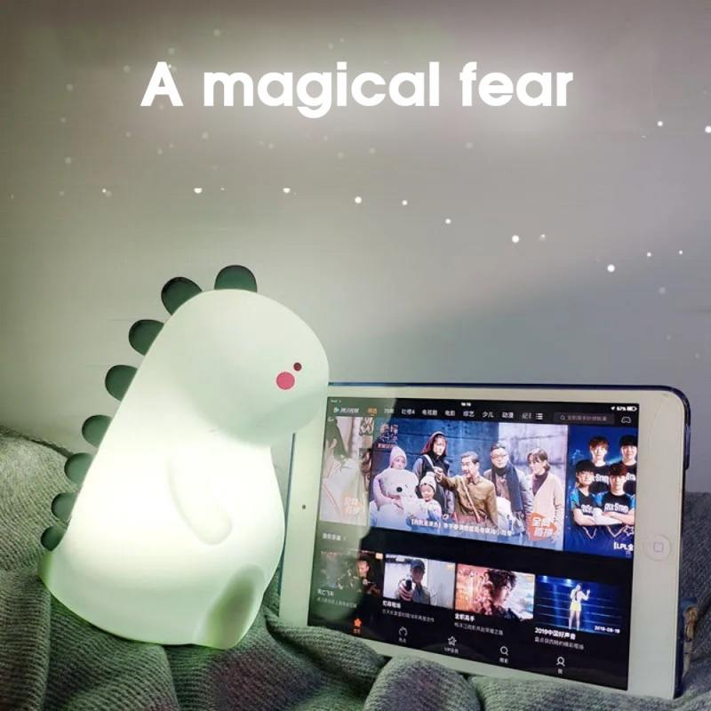 1PC Colorful Pat Light Dinosaur Silicone Night Light Student Dormitory Study With Sleeping Light Baby Feeding Bedside Light
