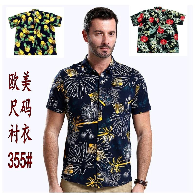 Europe And America Lard-bucket Plus-sized Popular Hawaii Shirt Travel Peach Skin Casual Shirt Shirt355 #