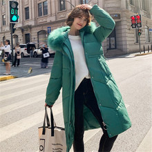 Fashion Down Jackets Female 2019 New Winter Korean Long Waist Coat Thick Warm Hooded Parkas Jacket Women's Cotton Clothing N951