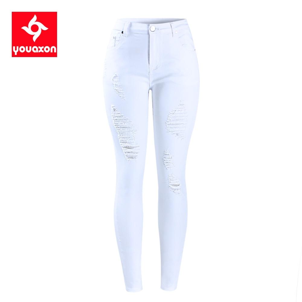 White Ripped Knee Skinny Jeans a vita alta