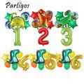 1 комплект, воздушные шары из фольги динозавра, 12/16/30/40 дюймов, фольга с номером, Globos, динозавр, Вечерние Декорации для мальчиков, джунгли, юрск...