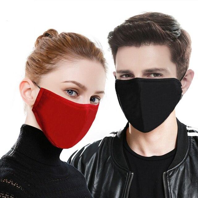 5pcs filters Kpop Cotton Mouth Face Mask Pm2.5 Anti-Dust Activated Carbon Filter Black Fabric Face Masks Reusable Washable Mask 5