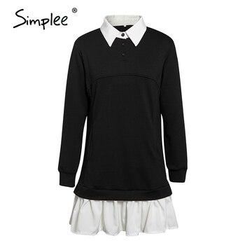 Simplee Casual Ruffle Dress Long sleeve loose straight dress Autumn Street Lapel fashion dress Fake two piece comfortable dress 7