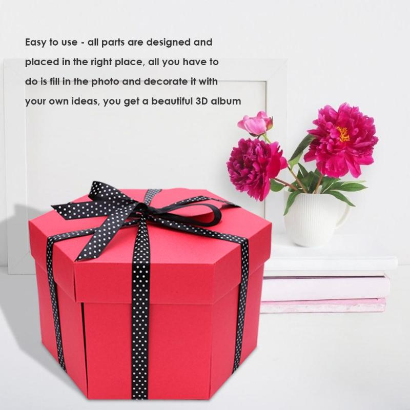 Hexagonal Explosion Box DIY Photo Album Scrapbook Bomb Boxes Easy To Use Xmas Valentine Present Surprise Birthday Gift