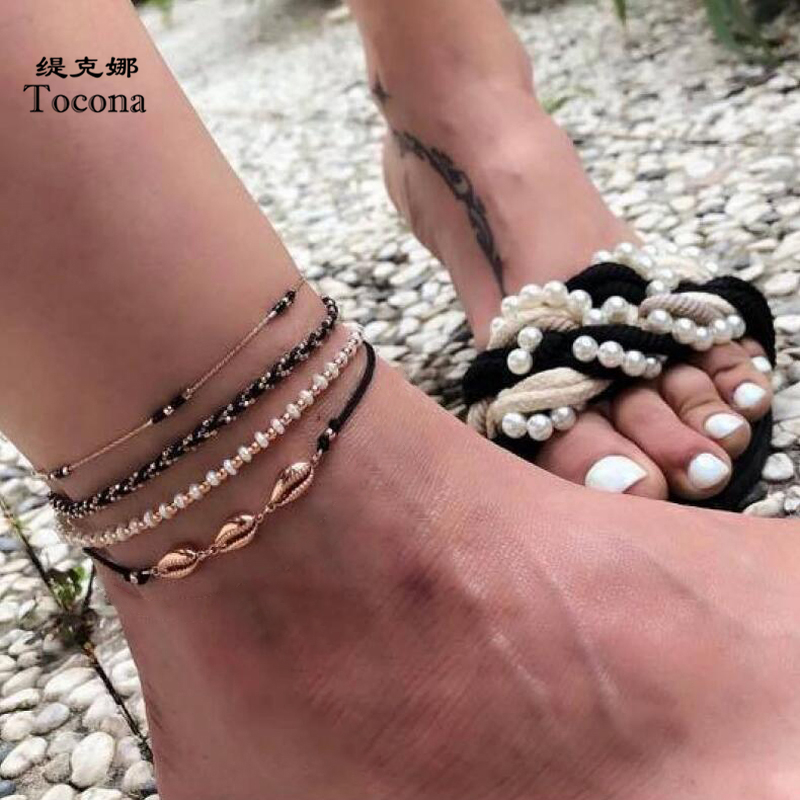 Tocona 4pcs/sets Colorful Bead Anklet Braceklt Sets Summer Shell Sandals Foot Leg Chain Adjustable Bohemian Jewelry 8804