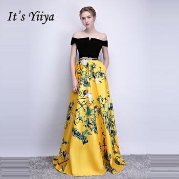 It's Yiiya Formal Evening Dresses Boat Neck Sleeveless Flower Pattern Floor length A-line Elegant Formal Dress LX1098