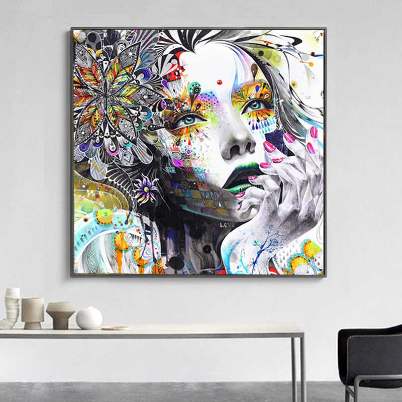 SELFLESSLY Modern Wall Art Girl With Flowers Oil Painting Abstract Art Prints Painting On Canvas Pictures Decor For Living Room