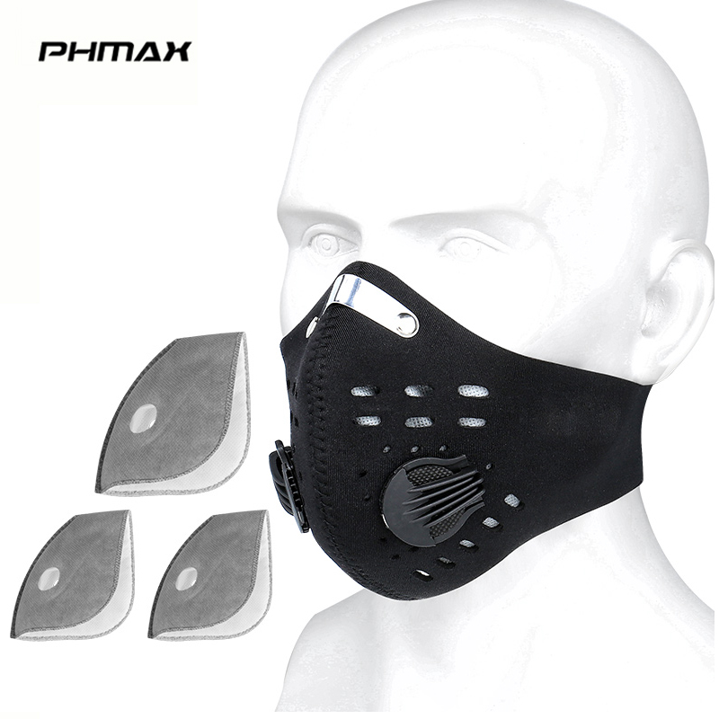 PHMAX Anti-Pollution Cycling Face Mask With KN95 Filter Breathable MTB Bike Sport Training Mask With Activated Carbon Filter