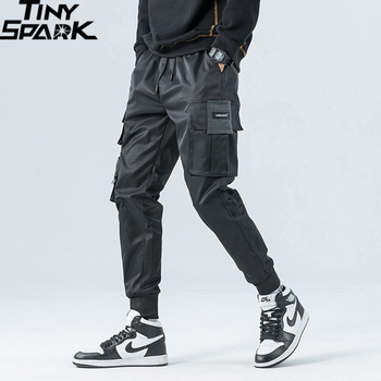 2020 Hip Hop Cargo Pants Streetwear Men Harajuku Joggers Pants HipHop Swag Ribbion Harem Pants Pockets Summer Autumn Trousers 1