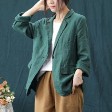 2019 Vintage Jacket Solid color Casual Loose Women  fall jacket women all match Turn-down Collar jackets female CXCZ40