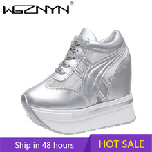 Wgznyn 2020 outono 11 cm bombas de fundo cunha grossa aumento sapatos casuais sapatos femininos moda alta plataforma zapatos mujer