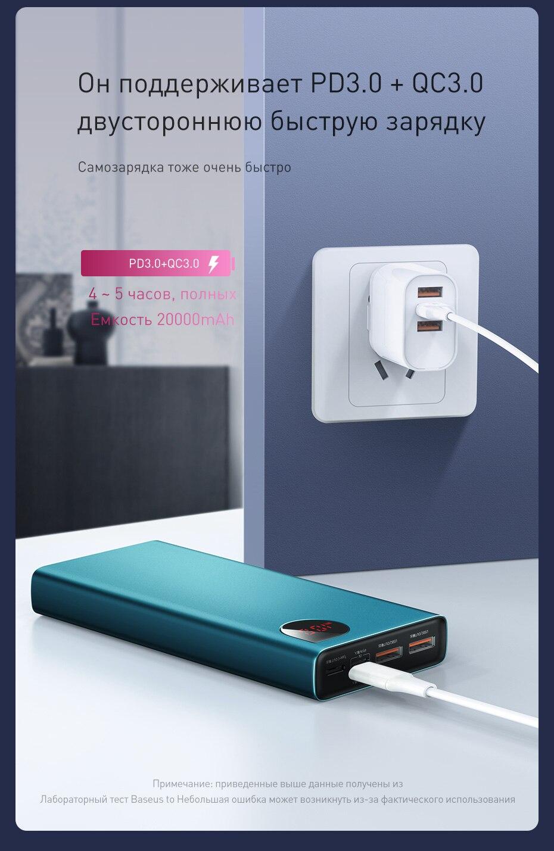 Baseus, 20000 мА/ч, внешний аккумулятор, быстрая зарядка, 4,0, 3,0, USB C, PD, быстрая зарядка, внешний аккумулятор для iPhone 11, портативное зарядное устройство