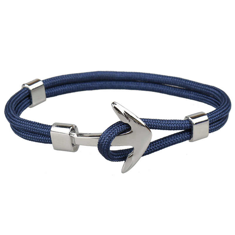 Silver Dark Blue Anchor สร้อยข้อมือเชือกสร้อยคอสร้อยคอสร้อยข้อมือผู้ชาย Navy สไตล์ของขวัญ
