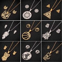 Smjel Gold Bijoux Enfant Stainless Steel Jewelry Set Origami Dog Flower Cat Earrings Women Triangle Necklaces Jewellery for Girl(China)