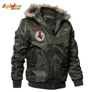Image 5 - IGLDSI erkek bombacı Pilot ceket kış Parkas ordu askeri motosiklet ceket kargo giyim hava kuvvetleri ordu taktik mont 4XL