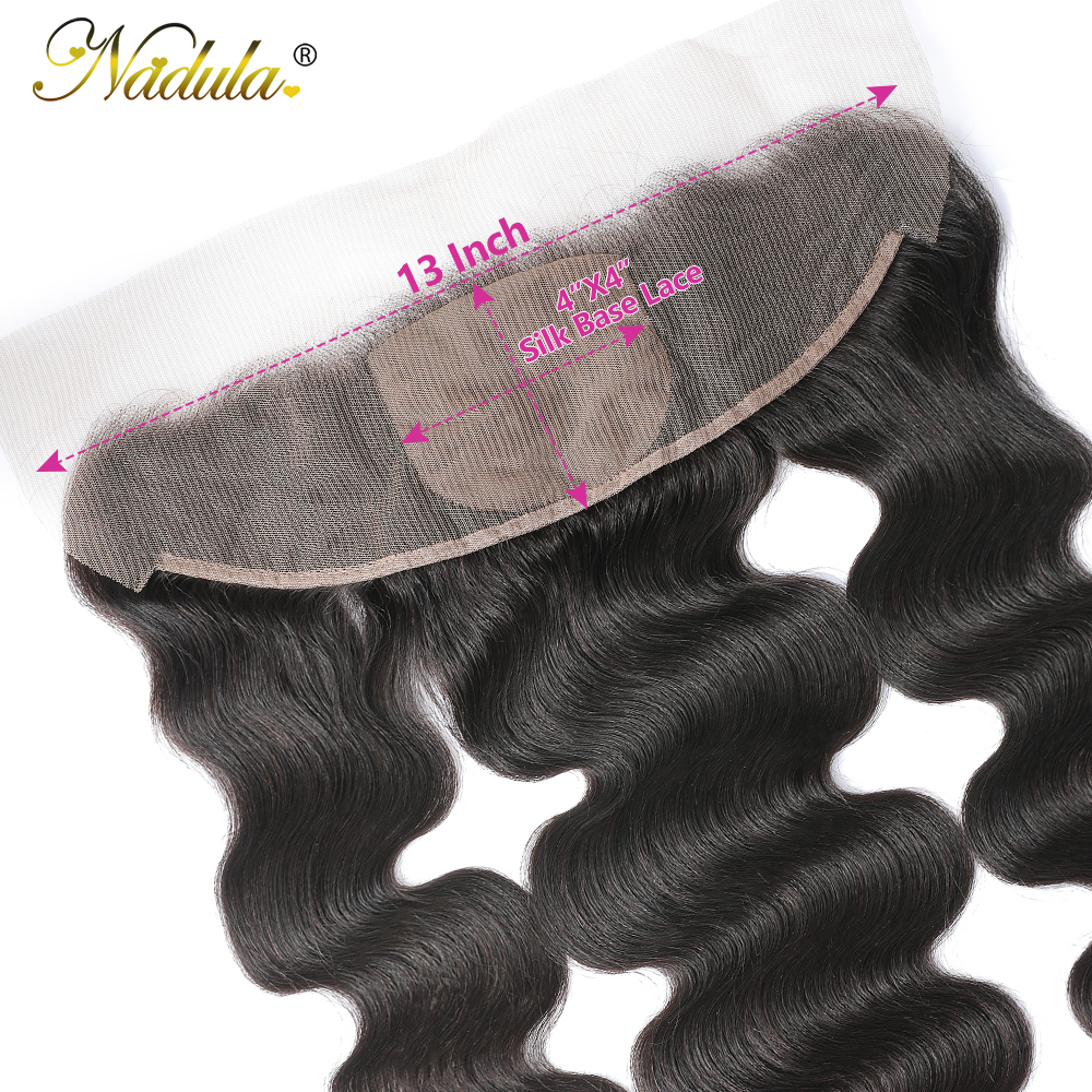 Nadula Hair Body Wave Lace Frontal 13x4 Medium Brown Lace Color Closures Body Wave Hair 4x4 Silk Base Frontal 5