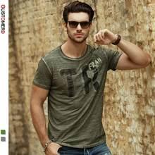 GustOmerD popularnej marki jakości bawełny T Shirt mężczyźni moda w stylu Vintage list druku z krótkim rękawem T-shirt mężczyźni casualowe w stylu Streetwear