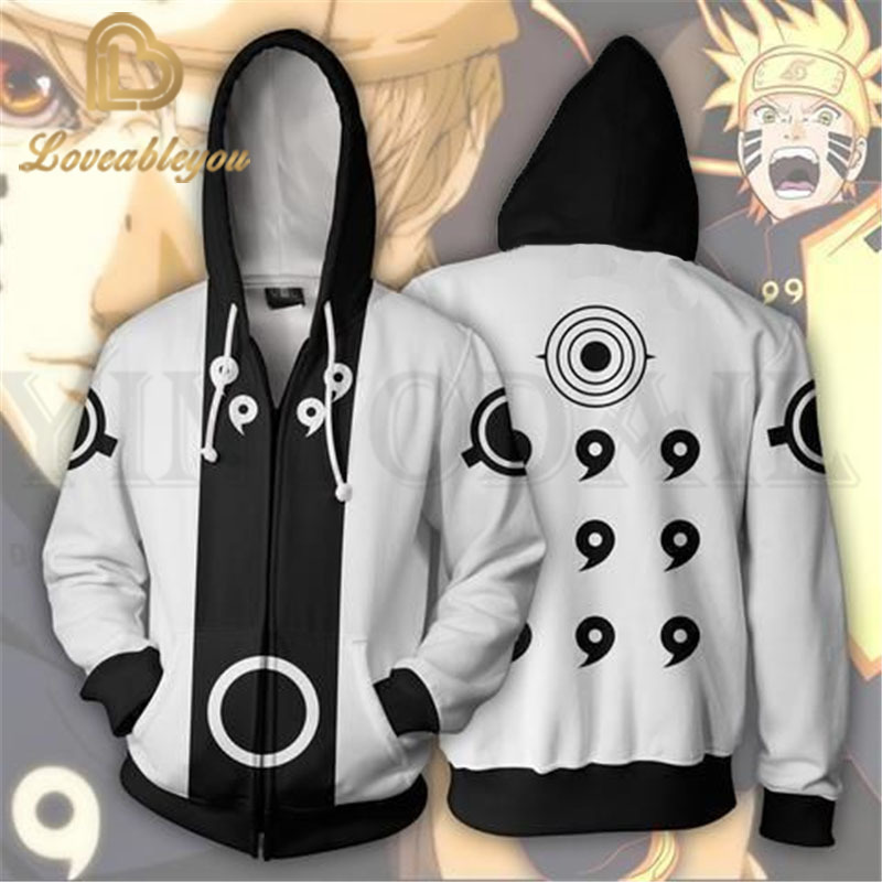 Anime Naruto Sweatshirt Men And Women Zipper Hoodies UZUMAKI 3d Print Hooded Jacket For Boys Cosplay Costume Harajuku Streetwear