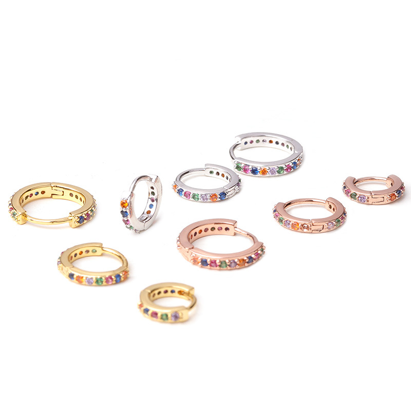 New Arrival 1Pc 6mm/8mm/10mm CZ Hoop Cartilage Earring Small Stud Earring Helix Tragus Daith Conch Rook Snug Ear Piercing Jewelr