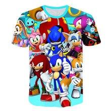 2019 fashion 3D sonic hedgehog cartoon T-shirt for boys and girls summer casual short-sleeved