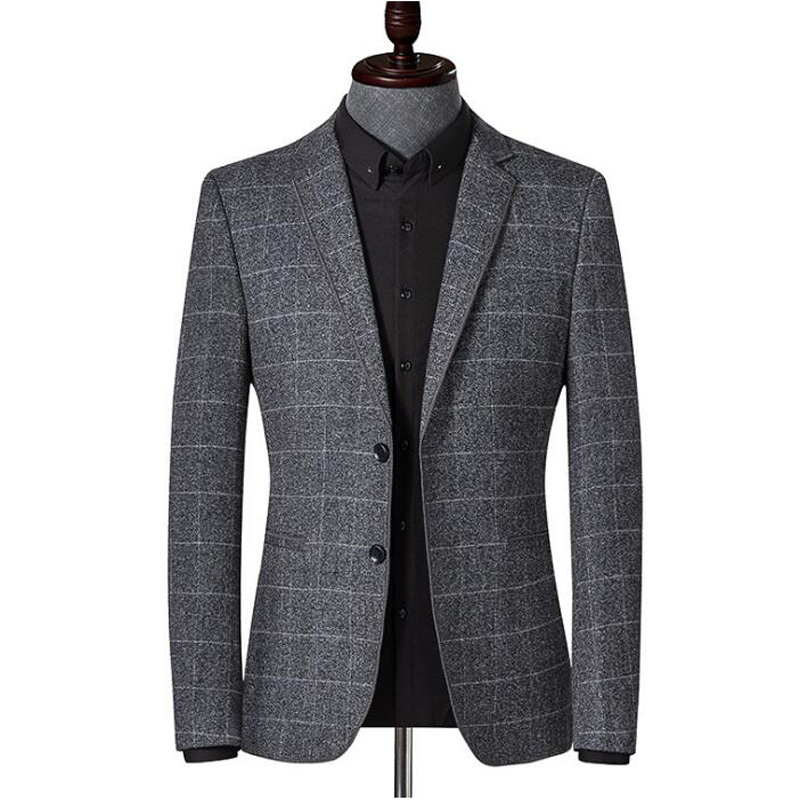 Men's Blazer Striped Jacket Youth Blazer Grid Suit Jacket Slim Fit Blazers Coat Business Casual Overcoat