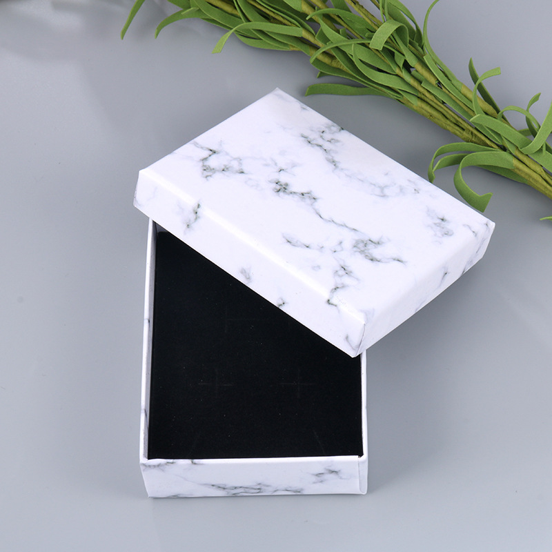 White Marble Color Jewelry Gifts Box With Black Inner Sponge For Brooches / Necklace / Bracelets / Earrings ETC