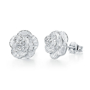 2021 Authentic Silver Color Jewelry Flower Stud Earrings For Women Jewelry Ed74 Brincos Para As Mulheres Bijoux Aros 1
