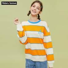 Metersbonwe 2020 nouveau printemps pour haut pour femme ample rayure Hit couleur pull mode impression femme loisirs o-cou sweat-shirt