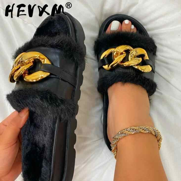 2021 summer omen new round toe thick soled flat mid heel fur