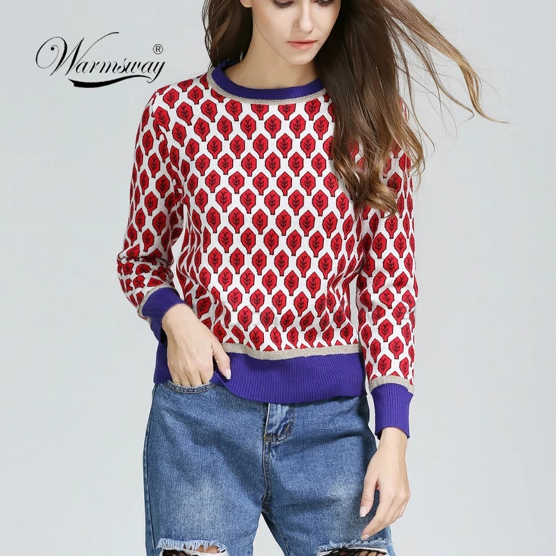 Women New Vintage Red Leaf Jacquard  Warm Sweaters Long Sleeve O-Neck Lurex Christmas Pullovers  Autumn Knitted Retro Tops C-014