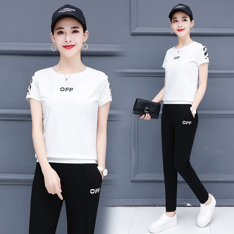 With Cotton Sports WOMEN'S Suit Summer 2019 New Style Korean-style WOMEN'S Wear Loose Short Sleeve Trousers Casual Two-Piece Set