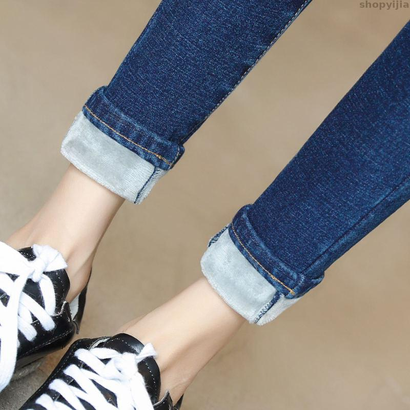Autumn Winter Jeans Casual Vintage Jeans Stretch Women Pencil Pants Plus Velvet High Waist Jeans Women Warm Thicken