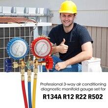 3 manier Koelmiddel Manometer Set Airconditioning Gereedschap met Slang Haak voor R12 R22 R404A R134A Airconditioning Koeling