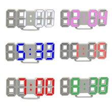 3D светодиодный цифровые часы Повтор для спальни настольные будильники подвесные настенные часы календарь термометр домашний Декор подарок с батареей