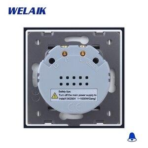 Image 5 - Welaik хрусталя панели переключателя белый настенный выключатель ЕС дверной звонок сенсорный выключатель света 1Gang1Way AC110 ~ 250 В a1911MLCW/b