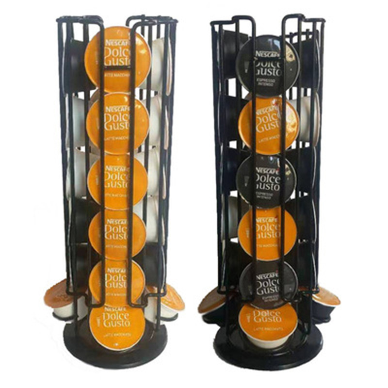 24Cups Rotatable Coffee Pod Holder For Dolce Gusto Capsule Display Capsule Rack Stainless Steel Tower Stand Storage Shelves 2020