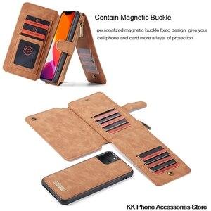 Image 3 - להסרה Flip עור טלפון מקרה עבור iPhone 11 פרו מקסימום מקרה יוקרה תכליתי רוכסן ארנק כיסוי עבור iPhone 11 מקרה fundas
