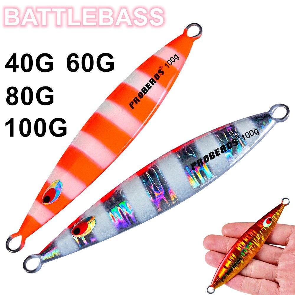 BATTLEBASS 1pcs/lot Perch Bait Metal Jig 40g/60g/80g/100g Slow Jigging Lead Fishing sea lures pesca promot peche jiglure|Señuelos de pesca|   - AliExpress