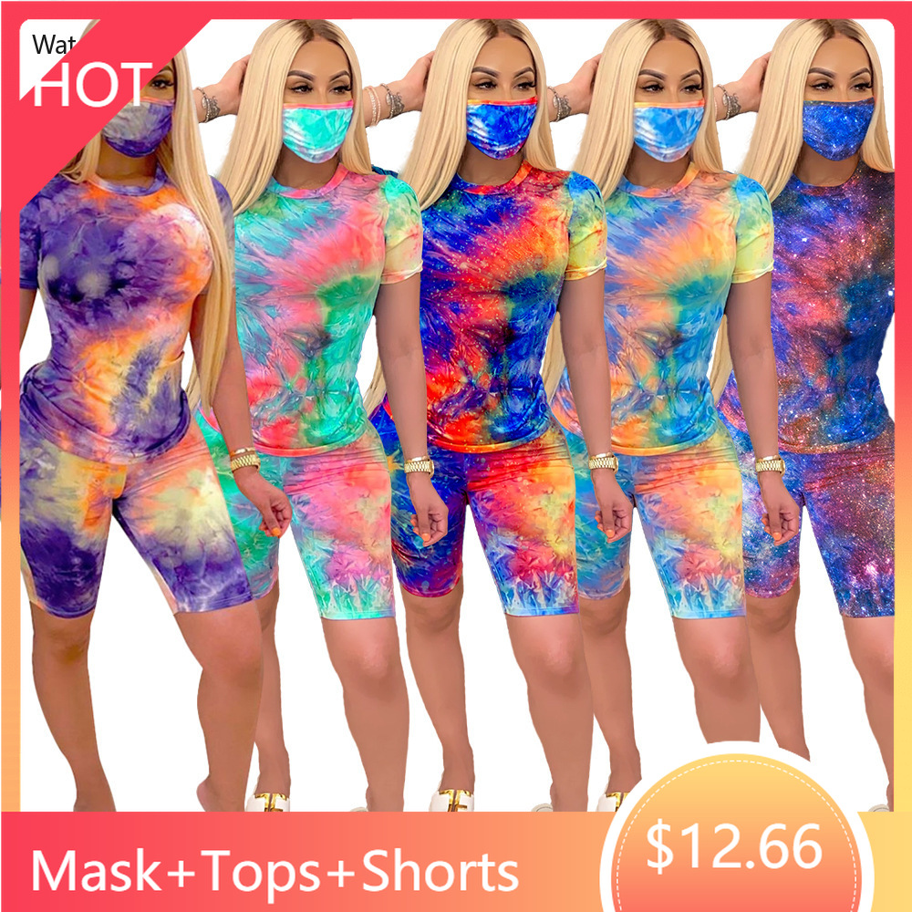 Women's Set Galaxy Tie Dye Black Hole Print Tops & Mask & Shorts Jogger Sweatpants Suit Sexy Three Piece Set Tracksuit Outfit(China)