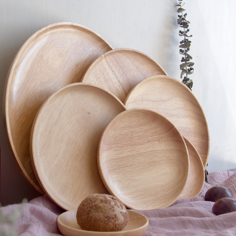 Dinner Plate Chinese Style Beech Wooden Round Dishes Tableware Sets Home Decor Crafts Kitchen Supplies for Fruit Walnut Snack image