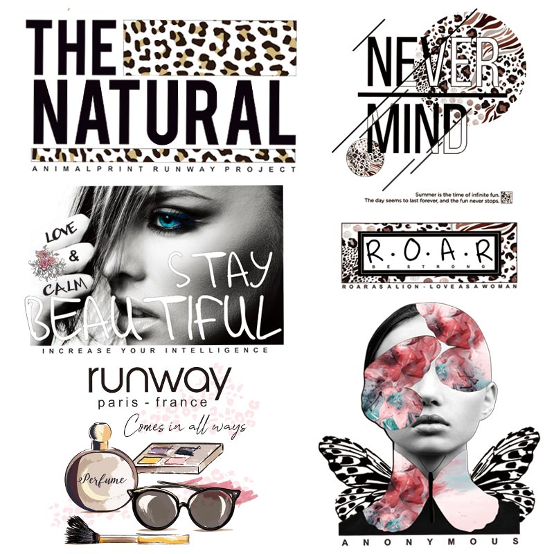 Fashion Sexy Leopard Iron-On Transfer Print-On Women T-shirt Patches Sticker On Clothes Beautiful Girl Design Parches Decor Set