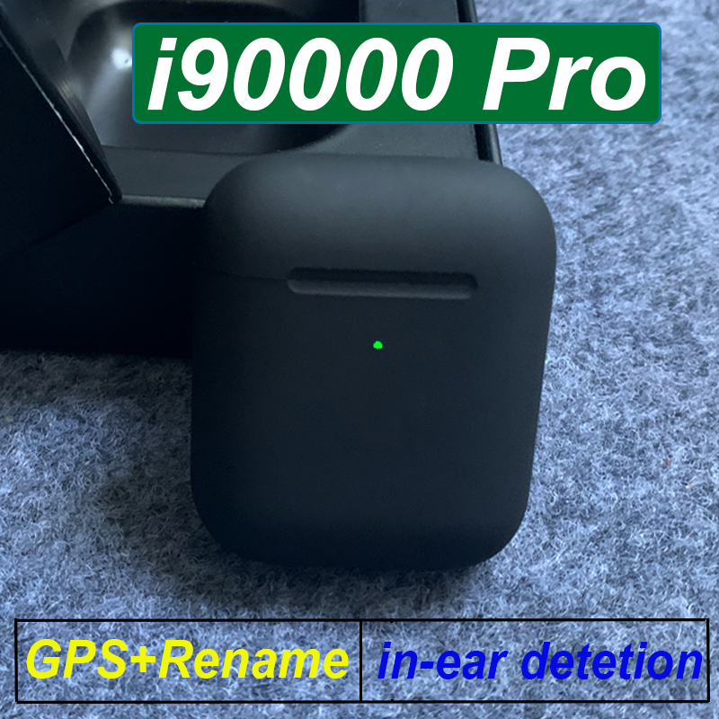 Original Wireless TWS I90000 Pro Bluetooth Earphone Matte Black Earbuds With GPS Rename Wireless Charging Pk I9000 TWS I500 Pro