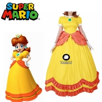 Super Mario Princess Daisy Yellow Cosplay Costume Dress Girls Mario Fancy Party Dress Custom Size Free Shipping